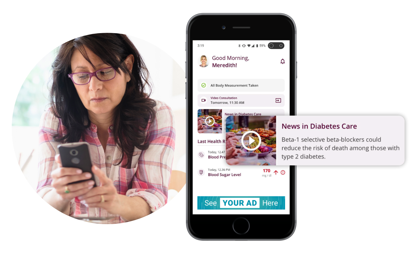 A woman looks at her phone which includes education and communication from her physician about managing diabetes.