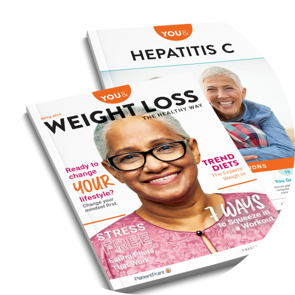 Two sample custom patient guides about weight loss and Hepatitis C.