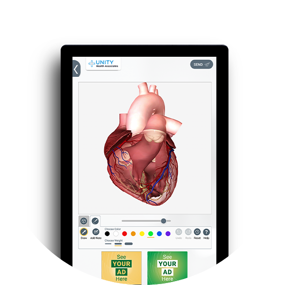 An interactive exam room screen showing a 3D anatomical of the human heart and a placeholder for OTC advertising.