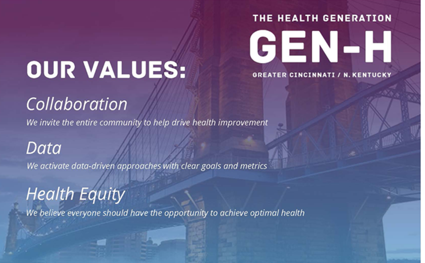 A listing of community health improvement initiative Gen-H's values, which inclue collaboration, data and health equity.