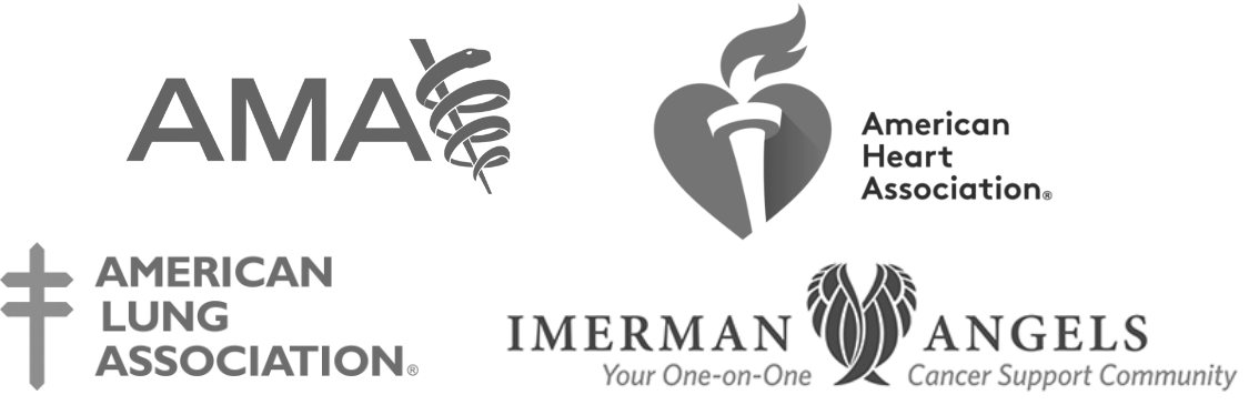 Partner logos for American Medical Association, American Heart Association, American Lung Association and Imerman Angels.