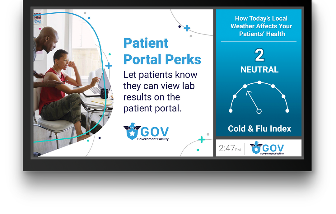 Screen with PatientPoint government medical news content, reminding staff to inform patients about the patient portal.