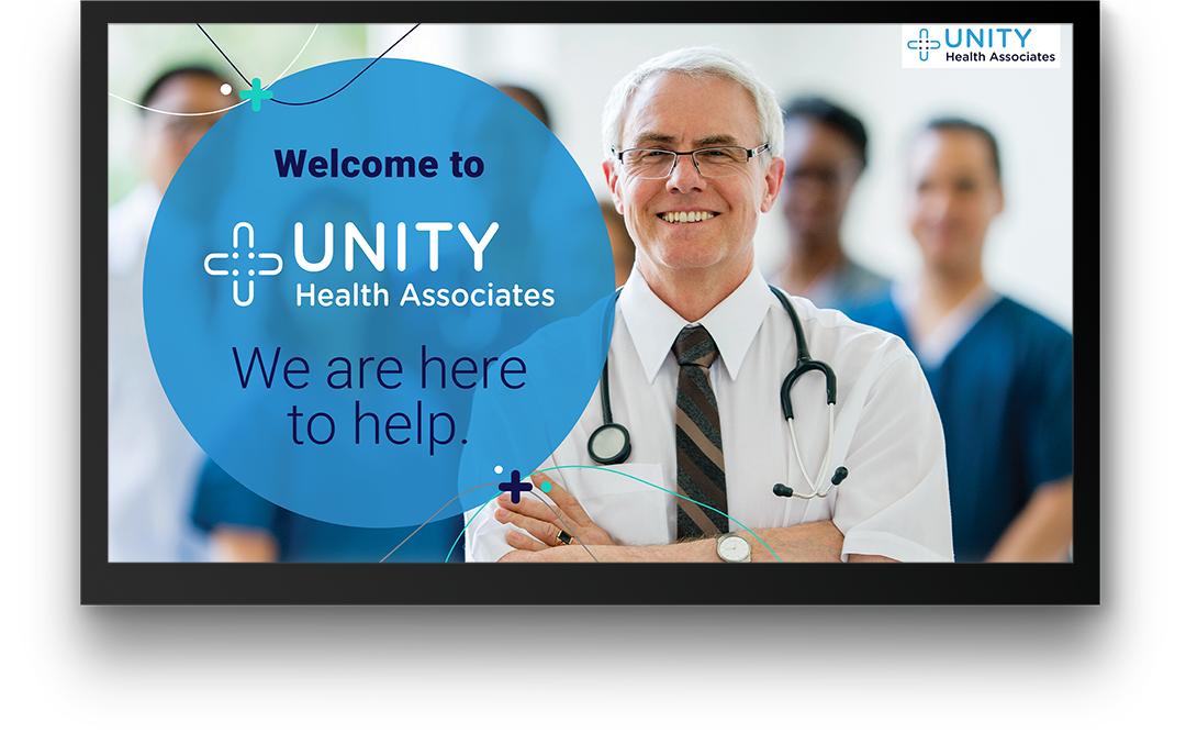 PatientPoint digital waiting room screen showing a smiling doctor next to a hospital welcome message.