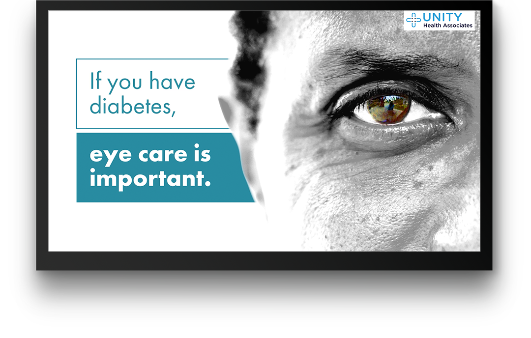 PatientPoint digital waiting room screen displaying patient education on eye care for diabetes.