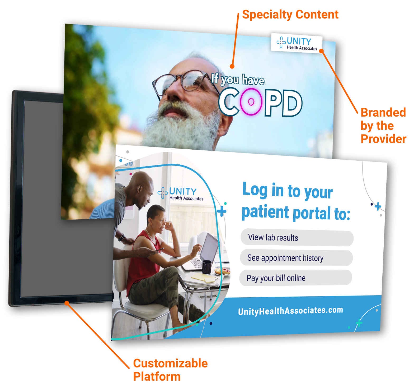 Digital waiting room signs showing specialty content about COPD, a custom patient portal message and provider branding.