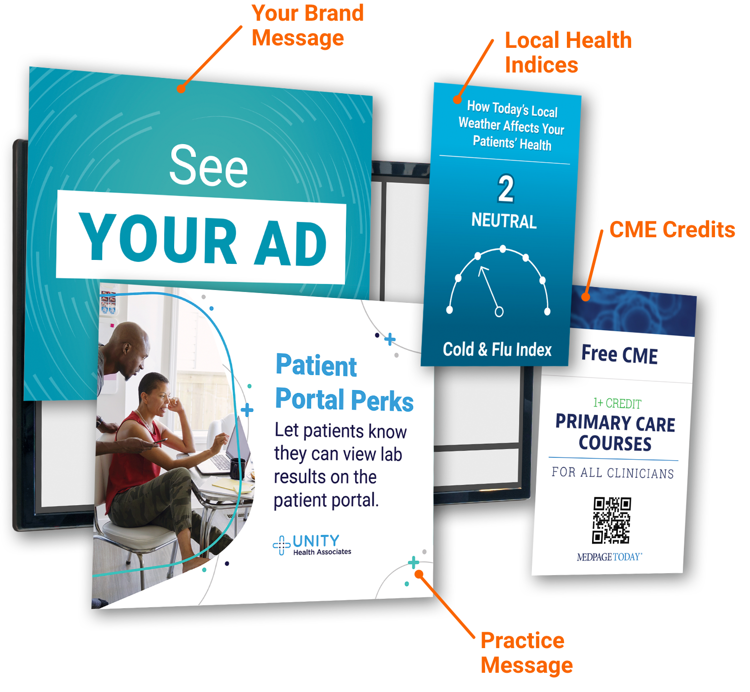 Physician office digital screen showing a message from the practice, infographic and pharma marketing.
