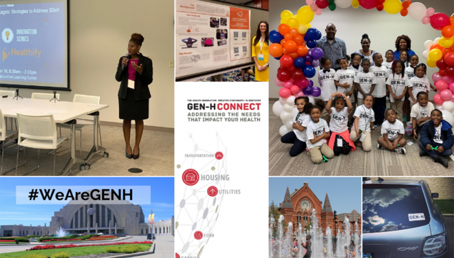 A collage of images of community health organization Gen-H giving talks, helping youth, and other activities in Greater Cincinnati.