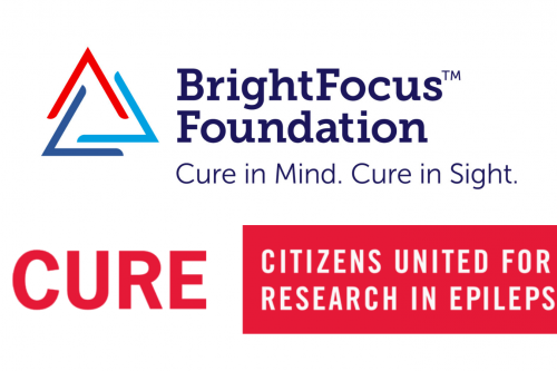 Logos for the Bright Focus Foundation and CURE (Citizens United for Research in Epilepsy)