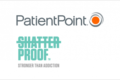 Logos of PatientPoint and Shatterproof, partners in a POC campaign to reduce opioid prescriptions.