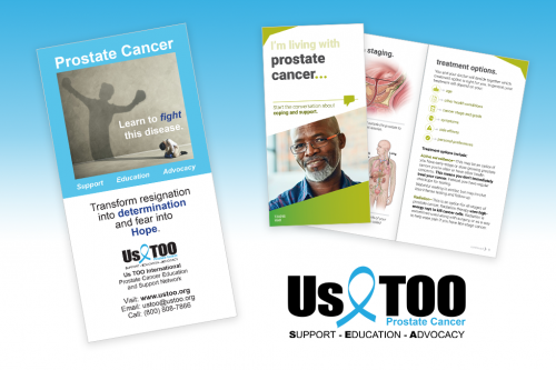 PatientPoint prostate cancer patient education brochure with Us Too PSA and logo.
